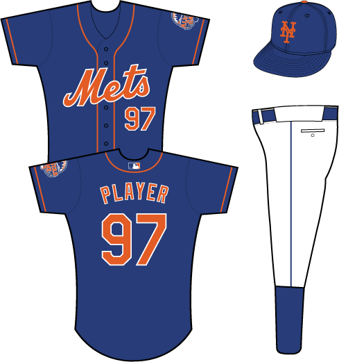 New York Mets Uniform Alternate Uniform (2013) - Mets scripted in orange with a white outline on a blue uniform with orange piping, 2013 All-Star Game patch on left sleeve SportsLogos.Net