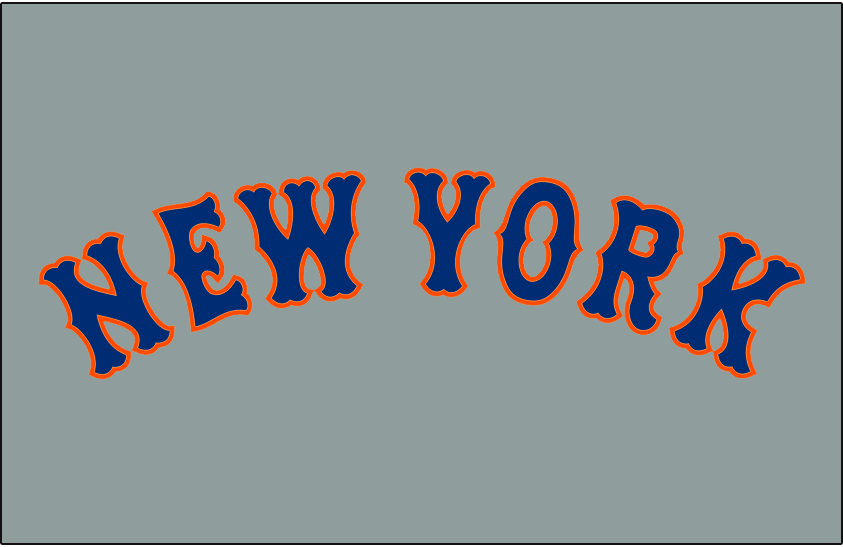 New York Mets Logo Jersey Logo (1995-1997) - New York arched in blue with orange trim on grey worn on New York Mets road jersey from 1995 to 1997 SportsLogos.Net