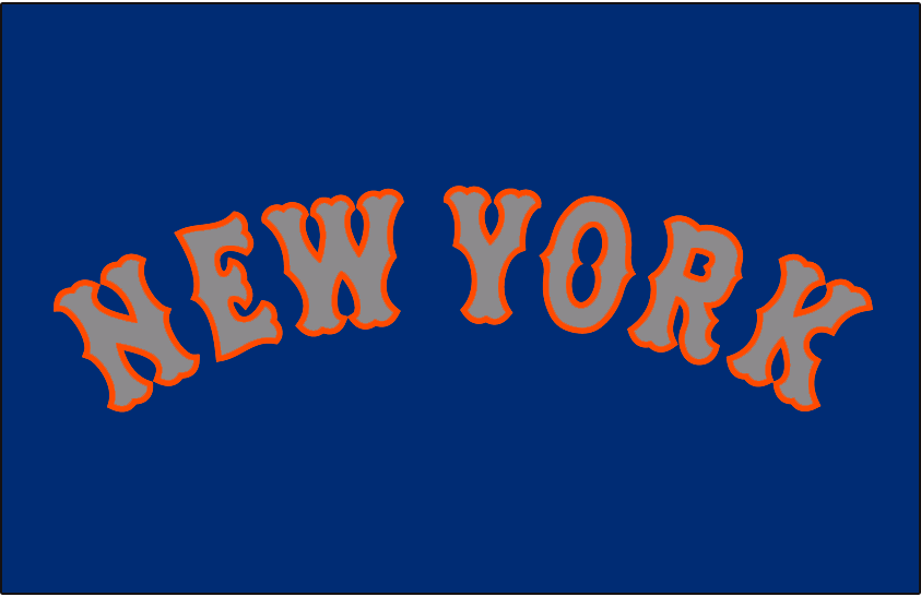 New York Mets Logo Jersey Logo (2014-Pres) - NEW YORK arched in grey with orange outline on blue, worn on New York Mets road alternate jersey starting in 2014 SportsLogos.Net