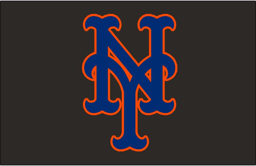 New York Mets Logo Cap Logo (1998-2011) - Stylized interlocking blue and orange NY on black, worn on the New York Mets road caps from 1998 until 2011 SportsLogos.Net