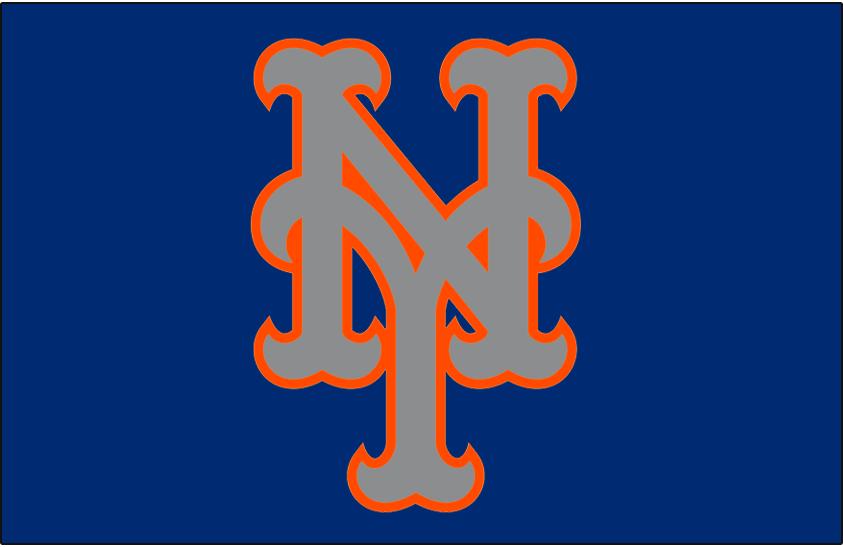 New York Mets Logo Cap Logo (2015-Pres) - Silver NY outlined in orange on blue, worn on New York Mets road alternate caps beginning in 2015 season SportsLogos.Net
