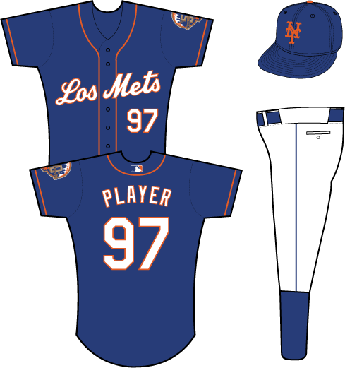New York Mets Uniform Special Event Uniform (2012) - Los Mets scripted in white with an orange outline on a blue uniform with orange piping, 50th Anniversary patch on left sleeve SportsLogos.Net