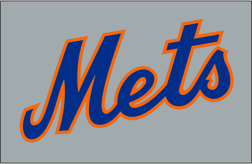 New York Mets Logo Jersey Logo (1974-1986) - Mets in blue and orange on grey, worn on New York Mets road uniform from 1974 until 1986 SportsLogos.Net