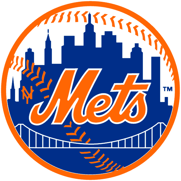 New York Mets Logo Primary Logo (1962-1992) - Mets with NY above a bridge in front of New York Skyline SportsLogos.Net