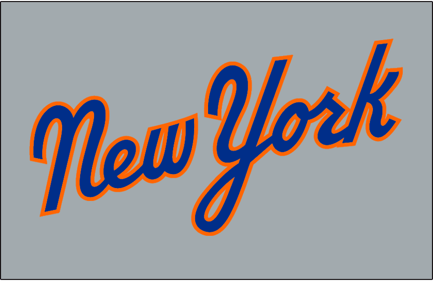 New York Mets Logo Jersey Logo (1987) - New York scripted in blue and orange on grey - worn on New York Mets road jersey in 1987 only SportsLogos.Net