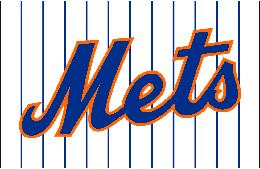 New York Mets Logo Jersey Logo (1962-1992) - Mets in blue and orange on white with blue pinstripes. Worn on New York Mets home jersey from 1962 until 1992 SportsLogos.Net