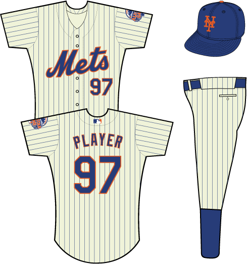 New York Mets Uniform Home Uniform (2013) - Mets scripted in blue with an orange outline on a cream-colored uniform with blue pinstripes, 2013 All-Star Game patch on left sleeve SportsLogos.Net