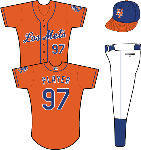 New York Mets Uniform Special Event Uniform (2013) - Los Mets scripted in blue with a white outline on an orange uniform with blue piping, 2013 All-Star Game patch on left sleeve SportsLogos.Net