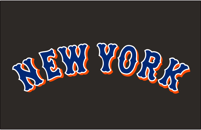 New York Mets Logo Jersey Logo (1999-2008) - New York in blue with a white outline and an orange drop shadow on black, worn on New York Mets road alternate jersey from 1999 until 2008 SportsLogos.Net
