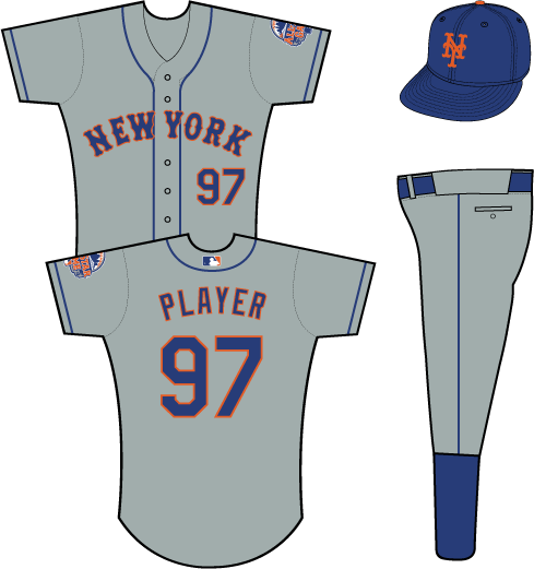 New York Mets Uniform Road Uniform (2013) - New York in blue with an orange outline on a grey uniform with blue piping, 2013 All-Star Game patch on left sleeve SportsLogos.Net