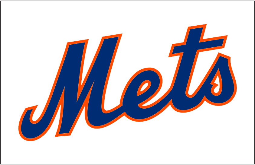 New York Mets Logo Jersey Logo (2012-2014) - Mets scripted in blue with an orange outline on white, worn on New York Mets home white alternate jersey from 2012 to 2014 SportsLogos.Net
