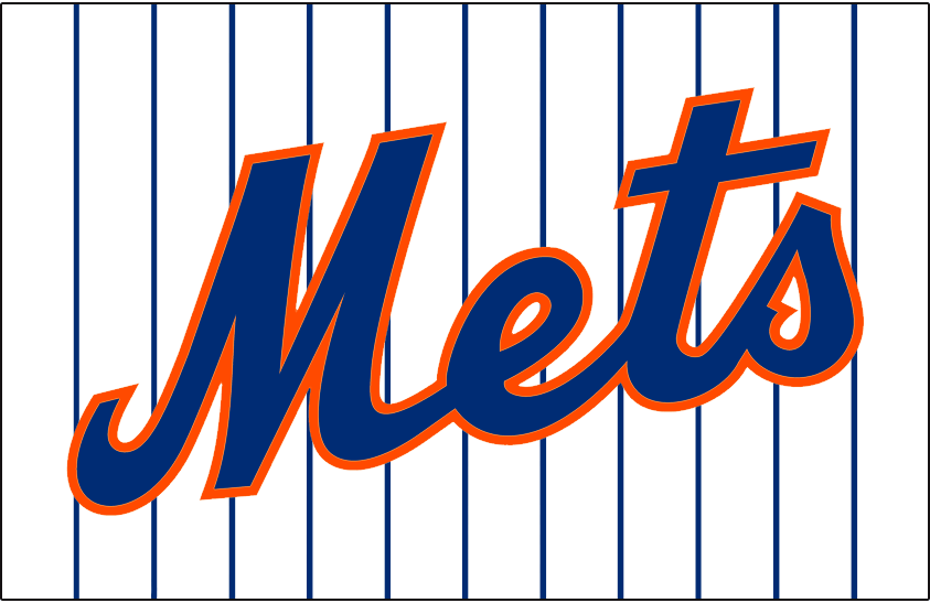 New York Mets Logo Jersey Logo (2015-Pres) - Mets in blue with orange trim on a white background with blue pinstripes. Worn on New York Mets home white jersey starting in 2015 SportsLogos.Net