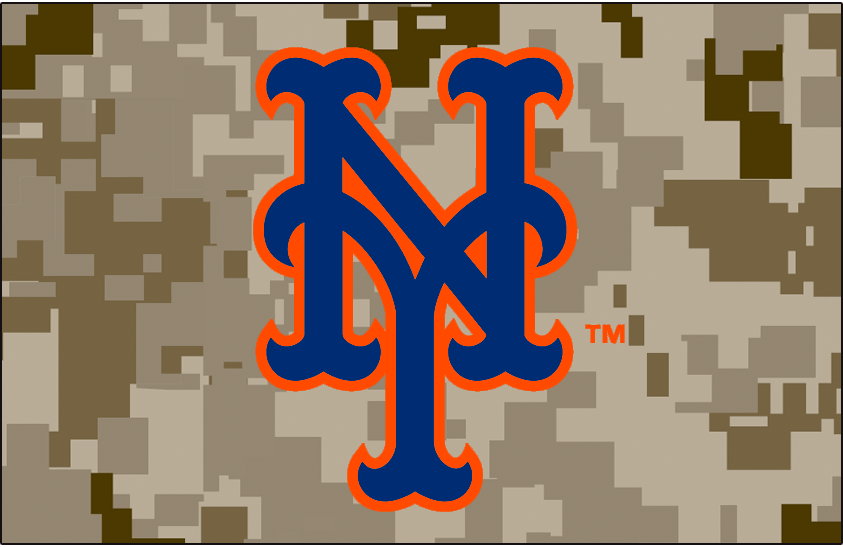 New York Mets Logo Cap Logo (2014-Pres) - NY in blue outlined in orange on a digital camouflage pattern, worn on New York Mets military Monday alternate caps starting in 2014 SportsLogos.Net