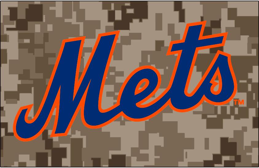 New York Mets Logo Jersey Logo (2014-Pres) - Mets in blue with orange trim on a digital camouflage pattern, worn on New York Mets alternate Military Monday jerseys beginning in 2014 season SportsLogos.Net