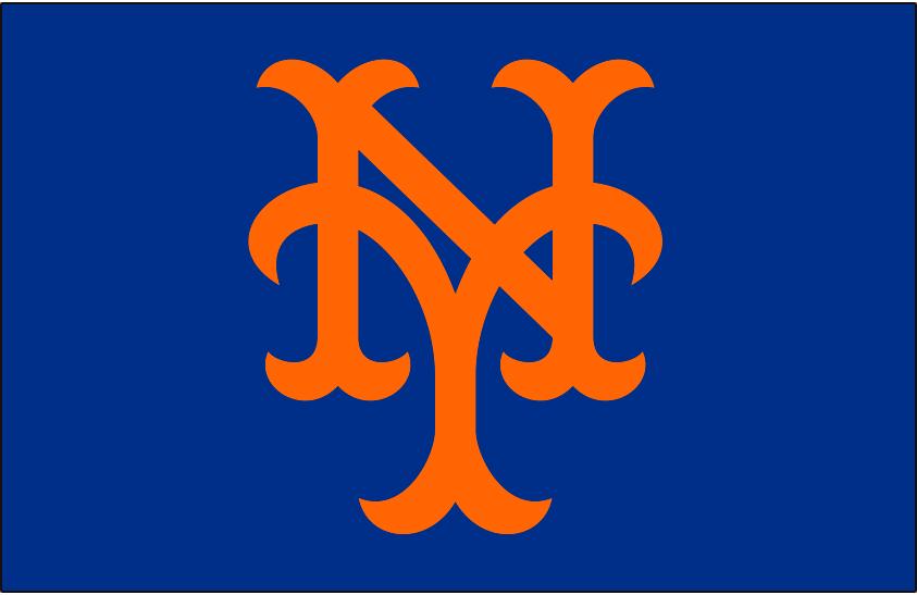 New York Mets Logo Cap Logo (1962-1992) - NY in orange on blue. Shade of blue and orange adjusted for 1993 SportsLogos.Net