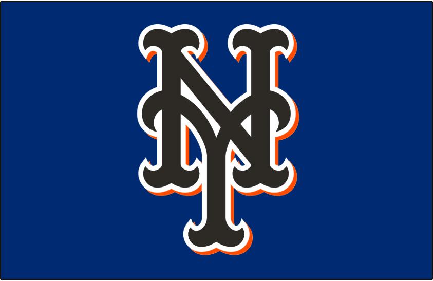 New York Mets Logo Batting Practice Logo (2003-2009) - Stylized interlocking black and orange NY on blue, worn on New York Mets batting practice cap from 2003 until 2009 SportsLogos.Net