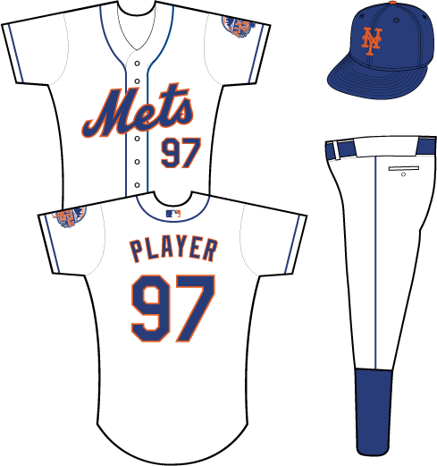 New York Mets Uniform Alternate Uniform (2013) - Mets scripted in blue with an orange outline on a white uniform with blue piping, 2013 All-Star Game patch on left sleeve SportsLogos.Net