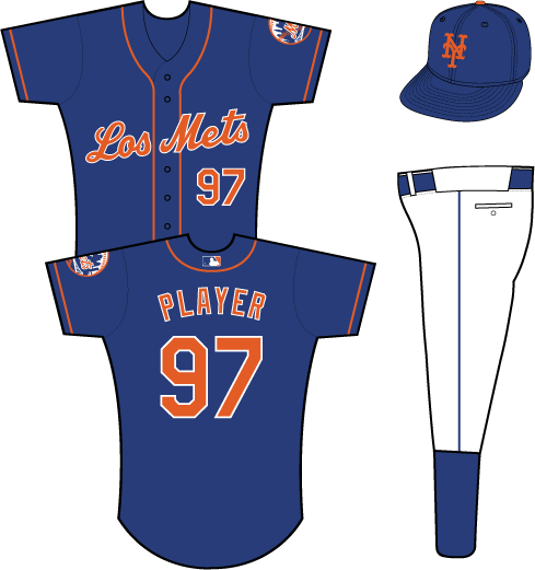 New York Mets Uniform Special Event Uniform (2011) - Los Mets scripted in orange with a white outline on a blue uniform with orange piping, primary logo patch on left sleeve SportsLogos.Net