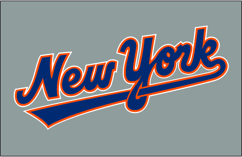 New York Mets Logo Jersey Logo (1993-1994) - New York scripted in blue and orange on grey -- worn on New York Mets road jersey in 1993 and 1994 SportsLogos.Net