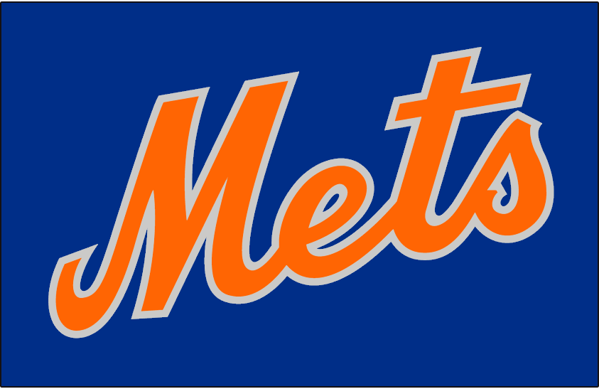 New york mets jersey logo 1982 mets in orange and silver on blue