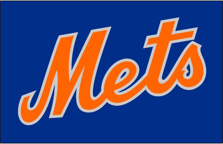 New York Mets Logo Jersey Logo (1982) - Mets in orange and silver on blue, worn on New York Mets road alternate jersey in 1982 SportsLogos.Net