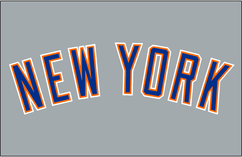 New York Mets Logo Jersey Logo (1988-1992) - NEW YORK arched in blue, orange, and white on grey. Worn on New York Mets road jersey from 1988 until 1992 SportsLogos.Net