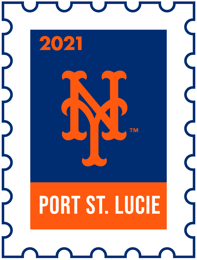 New York Mets Logo Event Logo (2021) - The New York Mets 2021 Spring Training logo, the design follows a league-wide style using a postage stamp in team colours with the team logo in the middle. SportsLogos.Net