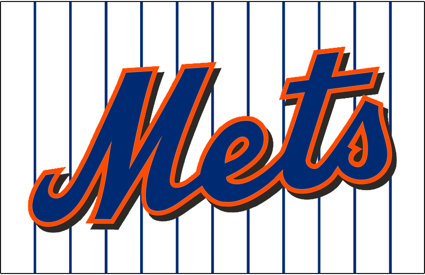 New York Mets Logo Jersey Logo (1999-2009) - Mets scripted in blue with an orange outline and a black drop shadow on a white uniform with blue pinstripes, worn on the New York Mets home uniform from 1999 though 2009 SportsLogos.Net