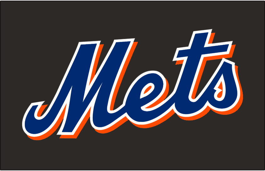 New York Mets Logo Jersey Logo (1998-2012) - Mets scripted in blue with a white outline and an orange drop shadow on black, worn on New York Mets home alternate jersey from 1998 through 2012 SportsLogos.Net