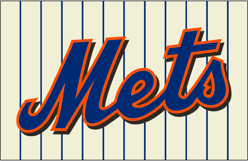 New York Mets Logo Jersey Logo (2010-2011) - Mets scripted in blue with an orange outline and a black drop shadow on a cream-coloured uniform with blue pinstripes, worn on New York Mets home alternate jersey from 2010 to 2011 SportsLogos.Net