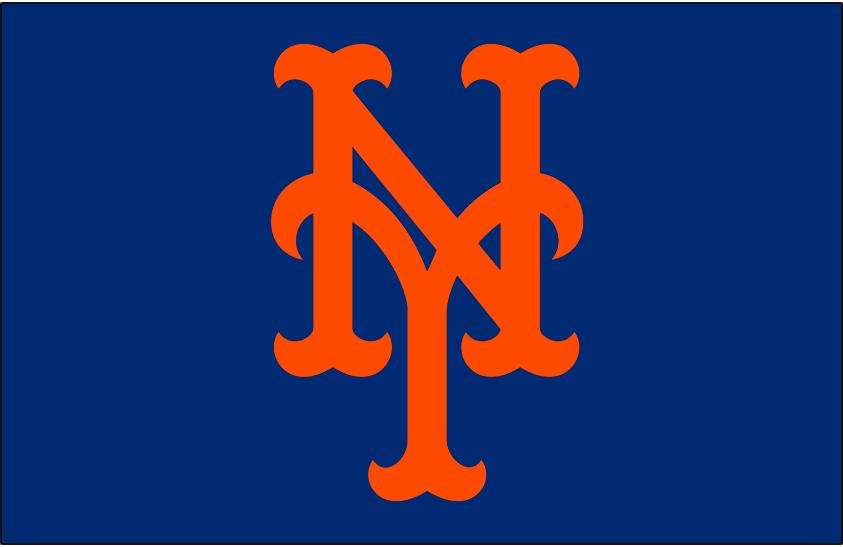 New York Mets Logo Cap Logo (1993-Pres) - Stylized interlocking orange NY on Blue, shades of blue and orange were adjusted before 1993 SportsLogos.Net