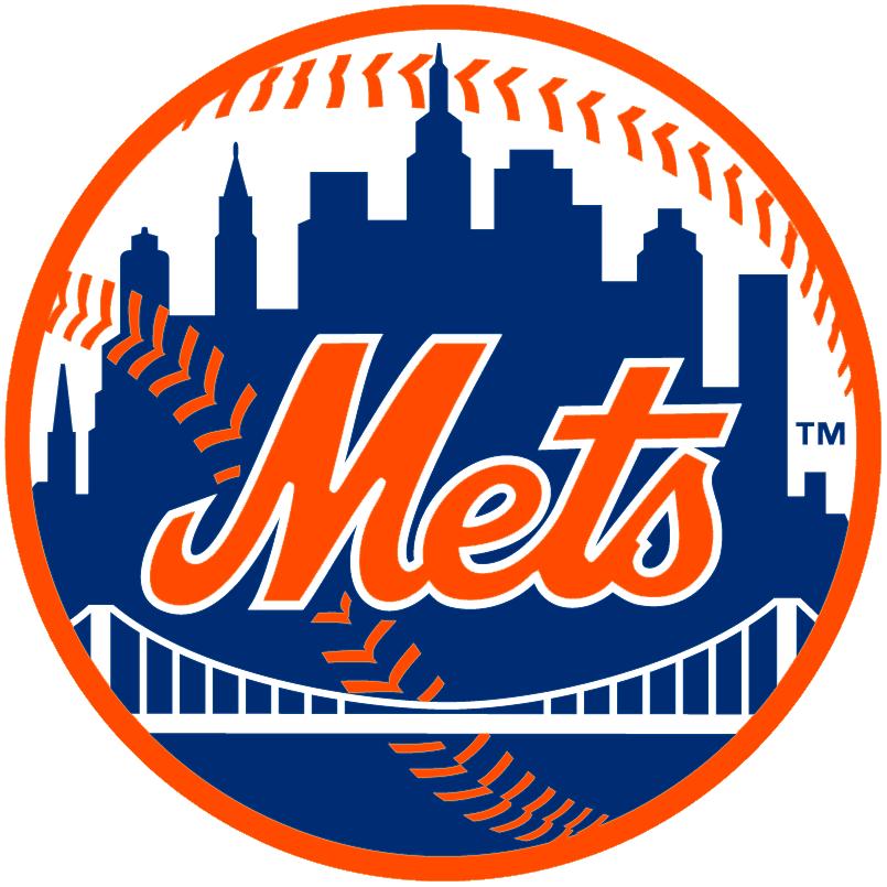 New York Mets Logo Primary Logo (1999-Pres) - Mets above a bridge in front of New York Skyline SportsLogos.Net