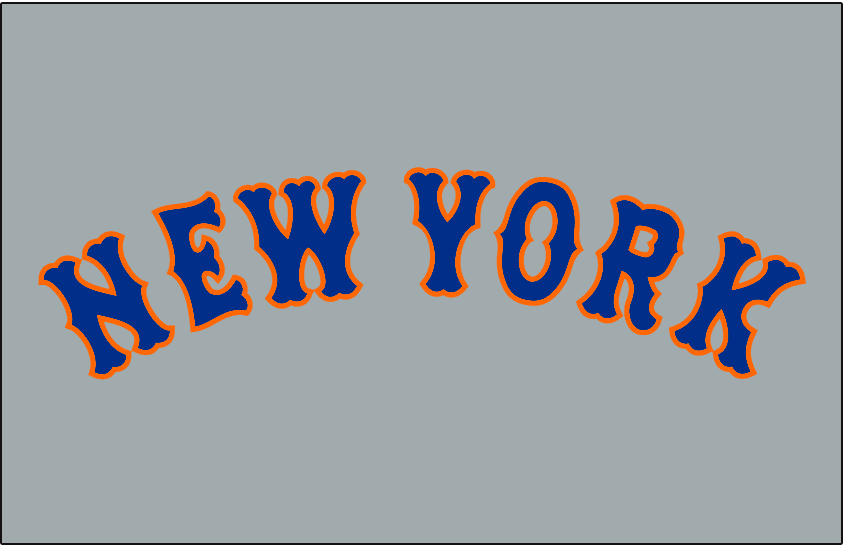 New York Mets Logo Jersey Logo (1962-1973) - New York arched in blue with an orange outline on grey, worn on New York Mets road uniform from 1962 until 1973 SportsLogos.Net