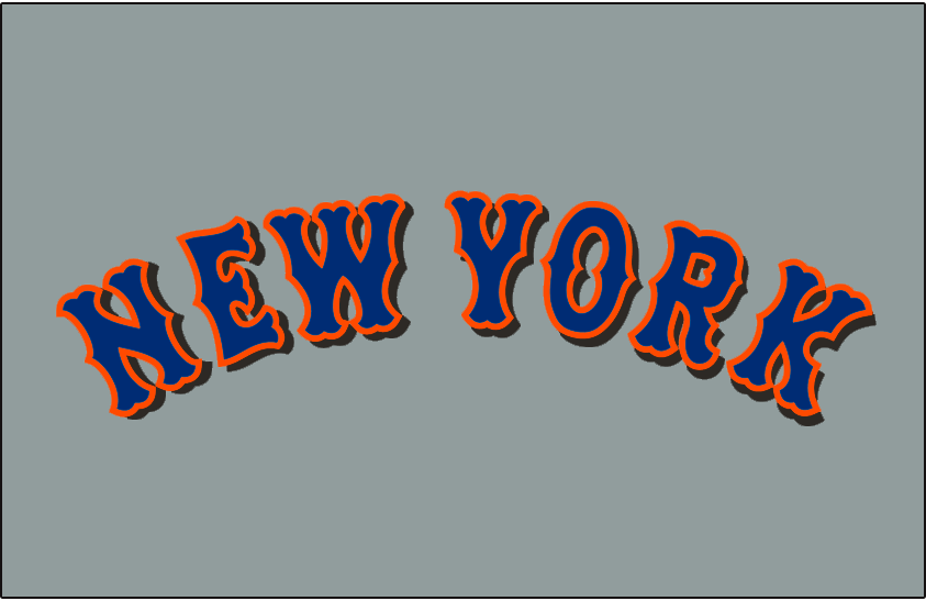 New York Mets Logo Jersey Logo (1998-2011) - New York in blue with an orange outline and a black drop shadow on grey, worn on the New York Mets road jersey from 1998 until 2011 SportsLogos.Net