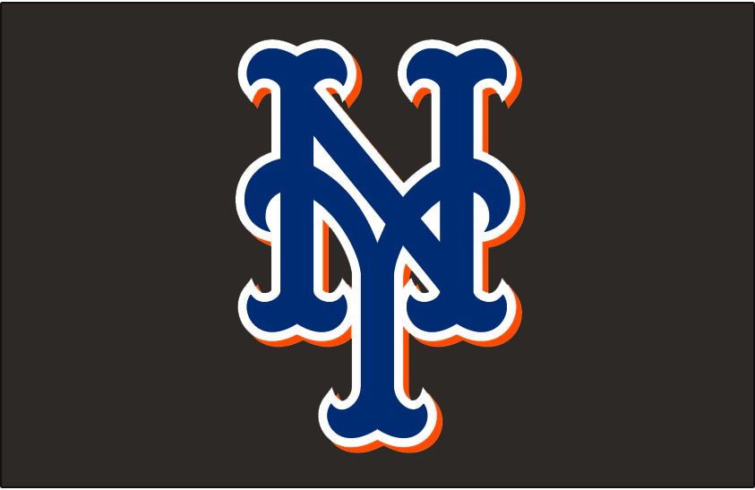 New York Mets Logo Cap Logo (1999-2012) - Stylized interlocking blue, white and orange NY on black, worn on the New York Mets alternate home and road caps from 1999 until 2012 SportsLogos.Net
