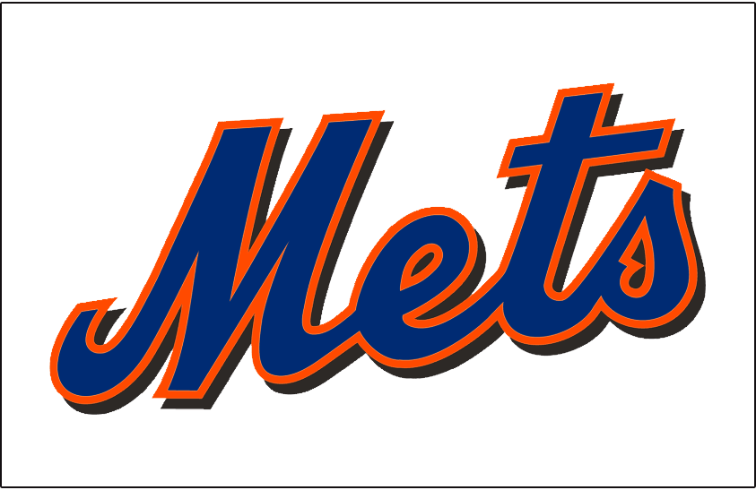 New York Mets Logo Jersey Logo (1998-2011) - Mets scripted in blue with an orange outline and a black drop shadow on a plain white uniform. Worn on the New York Mets alternate home jersey from 1998 until 2009, promoted to home jersey from 2010 to 2011 SportsLogos.Net