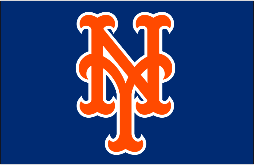 New York Mets Logo Cap Logo (2010-Pres) - Stylized interlocking orange and white NY on blue, worn on New York Mets alternate home cap since 2012 and on their BP cap from 2010 to 2012. SportsLogos.Net