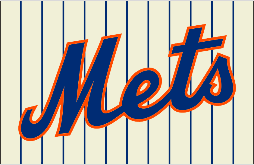 New York Mets Logo Jersey Logo (2012-2014) - Mets scripted in blue with an orange outline on cream with blue pinstripes, worn on New York Mets home jersey from 2012 to 2014 SportsLogos.Net