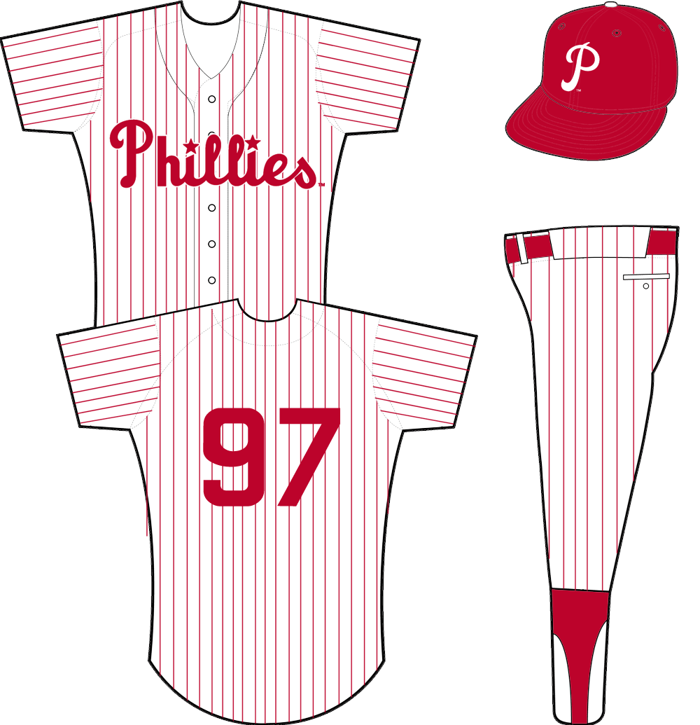 Philadelphia Phillies Uniform Home Uniform (1950-1969) - Phillies scripted in red across a white jersey with red pinstripes SportsLogos.Net