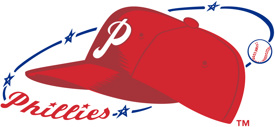 Philadelphia Phillies Logo Primary Logo (1950-1969) - Phillies cap over scripted surrounded by stars and baseball SportsLogos.Net