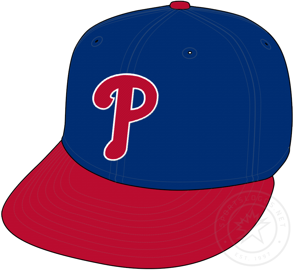 Philadelphia Phillies Cap Cap (2019-Pres) - Red P with white trim on updated shade of blue, worn on Phillies alternate cap starting in 2019 SportsLogos.Net
