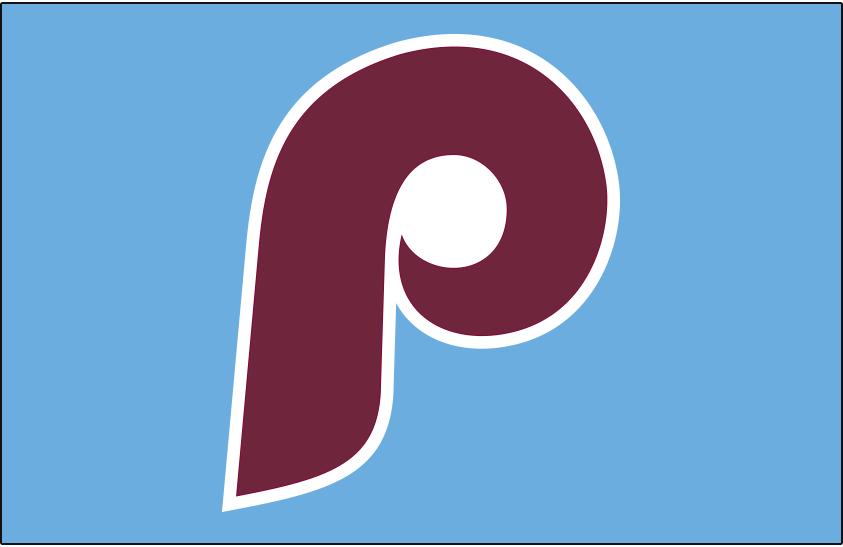 Philadelphia Phillies Logo Jersey Logo (2019-Pres) - Maroon retro P on powder blue jersey, worn with Phillies throwback themed alternate uniform since 2019 season SportsLogos.Net