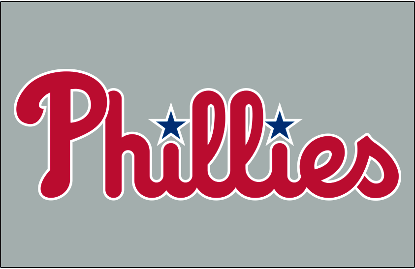 Philadelphia Phillies Logo Jersey Logo (2019-Pres) - Phillies in red and updated shade of blue on grey, worn on Phillies road jerseys starting in 2019 SportsLogos.Net