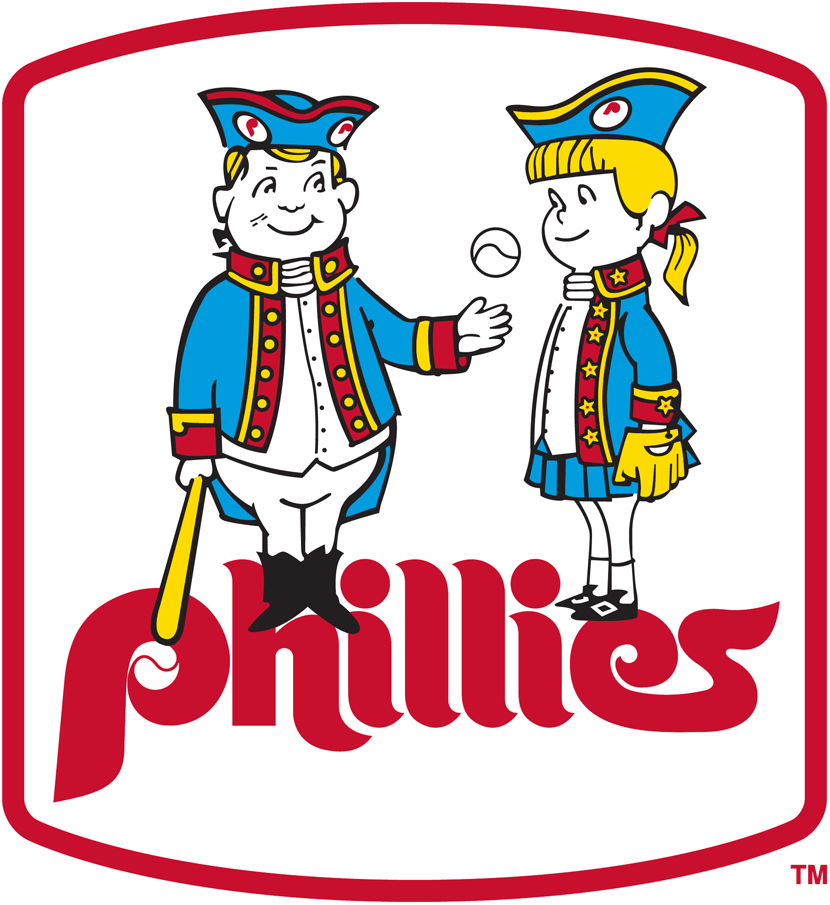 Philadelphia Phillies Logo Primary Logo (1976-1980) - Philadelphia Phil and Phillis, Phillies mascots of the era, shown wearing 18th century outfits and playing baseball SportsLogos.Net