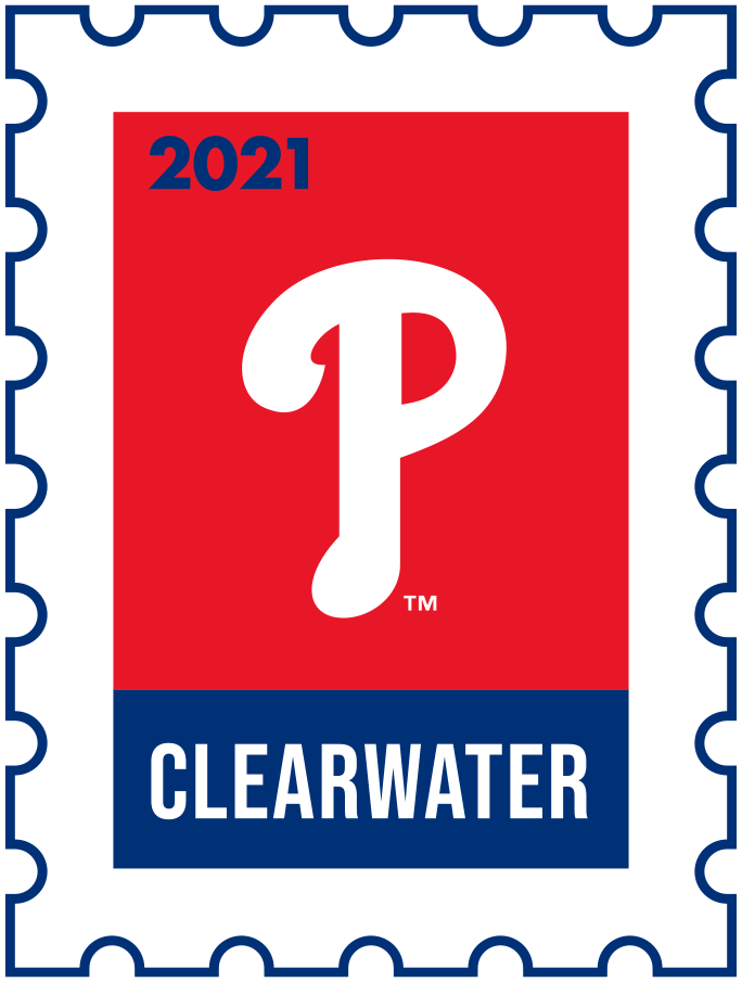 Philadelphia Phillies Logo Event Logo (2021) - The Philadelphia Phillies 2021 Spring Training logo, the design follows a league-wide style using a postage stamp in team colours with the team logo in the middle. SportsLogos.Net