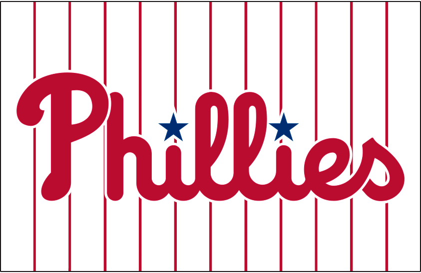 Philadelphia Phillies Logo Jersey Logo (2019-Pres) - Phillies in red and updated shade of blue on white with red pinstripes, worn on Phillies home jerseys starting in 2019 SportsLogos.Net