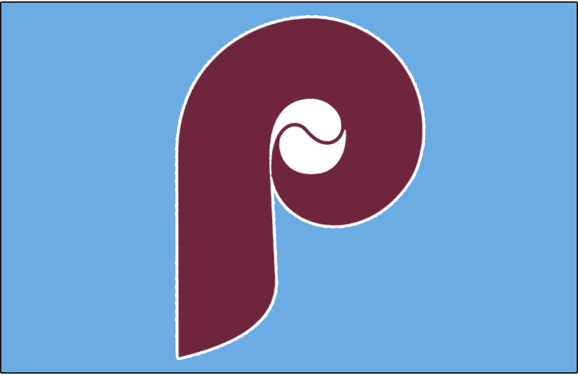 Philadelphia Phillies Logo Jersey Logo (1973) - A maroon P with a baseball on a powder blue jersey, worn on Phillies road jersey in 1973 and again from 1987-88 SportsLogos.Net