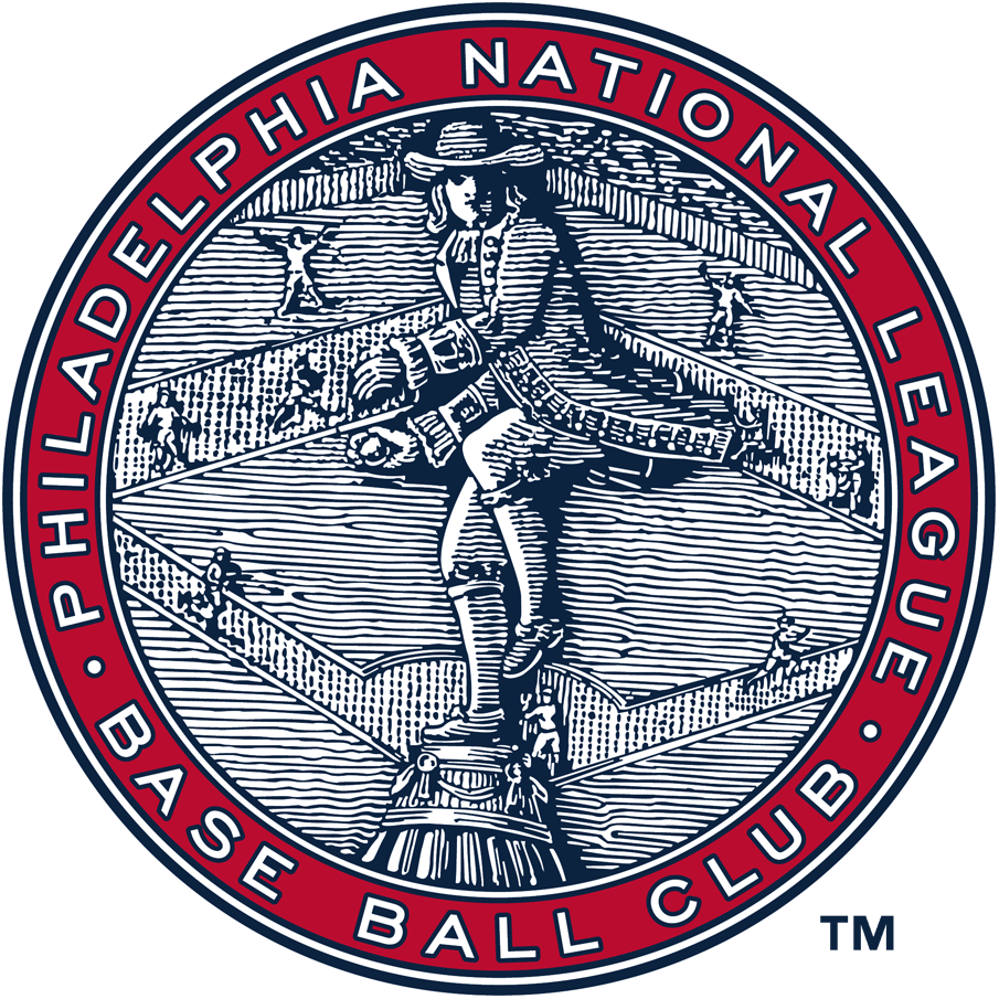 Philadelphia Phillies Logo Primary Logo (1915-1937) - Statue of William Penn throwing a baseball in front of a field with ball players inside a circle reading Philadelphia National League Base Ball Club. This logo was used with several different colour schemes from 1915 through 1943 SportsLogos.Net