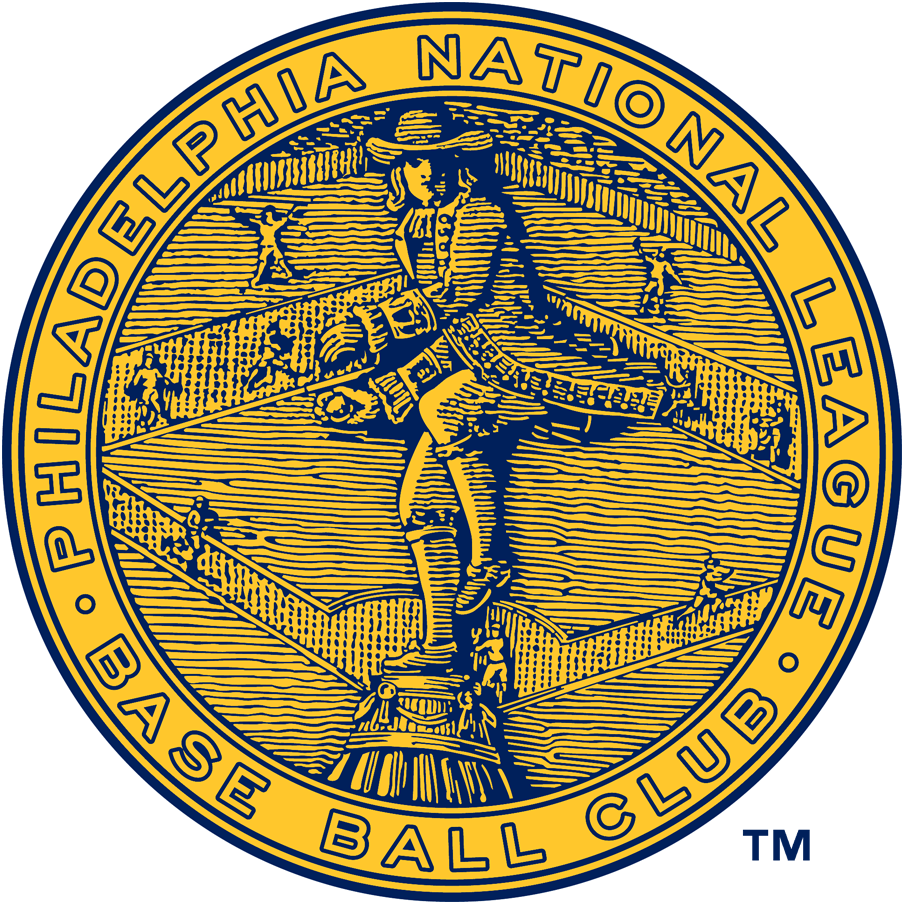 Philadelphia Phillies Logo Primary Logo (1938) - Statue of William Penn throwing a baseball in front of a field with ball players inside a circle reading Philadelphia National League Base Ball Club. This logo was used with several different colour schemes from 1900 through 1943, the blue and gold version seen here was worn only during the 1938 season and also on the sleeve of their jersey. SportsLogos.Net