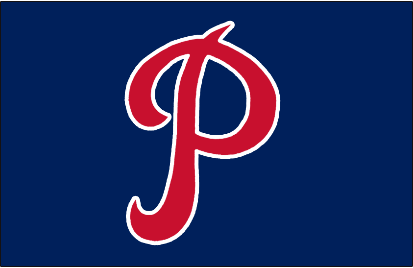 Philadelphia Phillies Logo Cap Logo (1934-1937) - A red P outlined in white on navy blue, worn on the Philadelphia Phillies home and road caps from 1934-1937 SportsLogos.Net